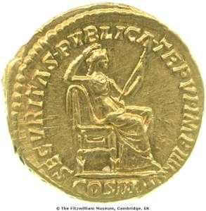 Reverse of a gold aureus of the Roman Emperor Commodus (180-92) depicting Securitas, relaxing on a throne, Fitzwilliam Museum CM.RI.1562-R