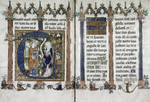 A double-page spread from a fourteenth-century book of sermons, designed to evoke a cathedral