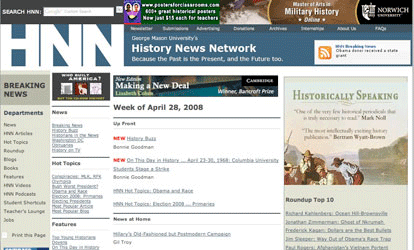 Screenshot of the History News Network magazine website