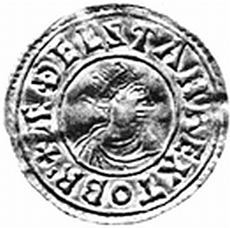 Obverse of a silver penny of King Athelstan of Wessex (924-39) from the Winchester mint by the moneyer Wulfheard, legend reading +ÆÐELSTAN REX TO BRI, now in the British Museum, SCBI 34 no. 162