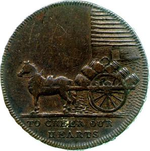Reverse of a copper halfpenny token of T. Cloakes, brewer, from dies engraved by W. J. Davis, issued at Tenterden in 1796, Fitzwilliam Museum CM.TR.1298-R, from the Trinity College Collection