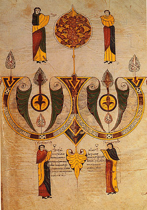 Miniature from the Codex Goticus Legionensis (c. 960) showing priests toasting each other