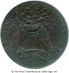 Reverse of a copper halfpenny token issued by an uncertain party between 1787 and 1805 depicting Pandora's Breeches afire with a serpent beneath, Fitzwilliam museum CM.BI.1925-R