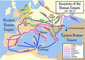 A map of supposed invasions of the Roman Empire, from Wikimedia Commons