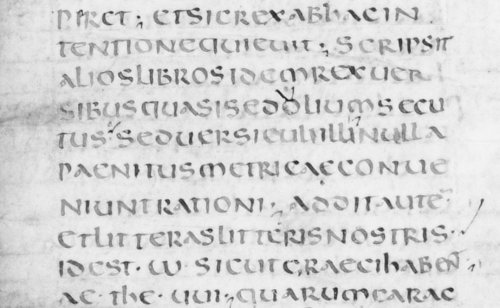Half-page of uncial from a seventh-century Frankish manuscript of Gregory of Tours's Histories, Leiden UB MS BPL 21, fol. 2v