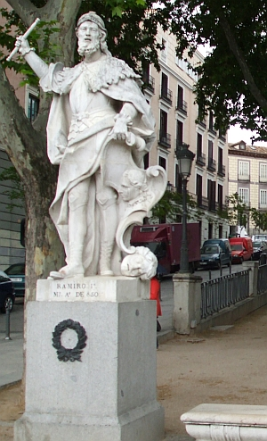 Statue of Ramiro I of Asturias outside the Palau Reial in Madrid