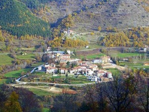 View of Vallfogona, Ripollès, immediately to the south of Sant Joan de les Abadesses, from the Castell de Milany to the south