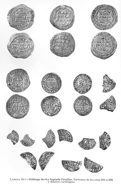 Plate 10 of Santos Gener's article on the Sagrada Familia hoard, the Carolingian coins the third row and the fragments