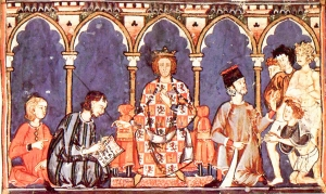 "Alfonso X of Castile and his court, as shown in <a href=""http://www.library.arizona.edu/exhibits/illuman/12_07.html"">the 12th-century Libro de los Juegos</a>; from Wikimedia Commons"