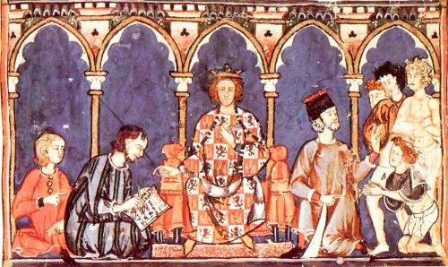 Alfonso X of Castile and his court, as shown in the 12th-century Libro de los Juegos