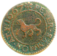 Halfpenny token of Peter Sammon, Kensington, London, 1667, Fitzwilliam Museum, CM.BI.1051-R