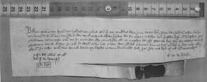 Charter from the archives of Count of Hainault, by the scribe Richard Fleck