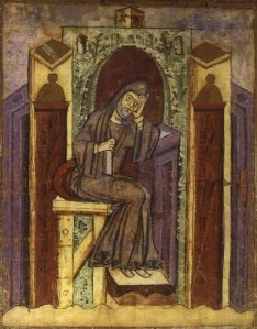 St Gall illustration of Notker the Stammerer, from Wikimedia Commons