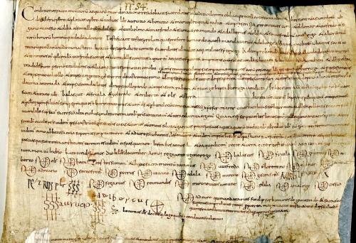 Arxiu de l'Abadia de Sant Joan de les Abadesses, volum de pergamins dels segles X-XII, fo. 35