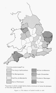 Spread of landholding of William the Conqueror's baronage by family 1086, as per Fleming
