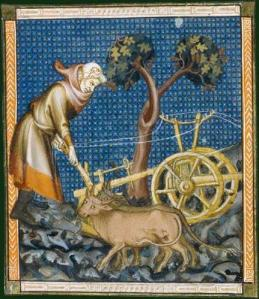 Medieval peasant at work with a hand plough, from a manuscript in the Bibliothèque National de France