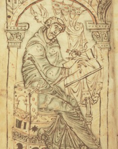 Pen portrait of Bede from a manuscript of his Ecclesiastical History of the English People