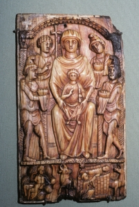 6th-century Byzantine ivory of Madonna and child from Thessaly, showing the shepherds bringing gifts