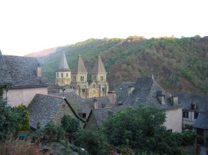 View of the rooftops of Conques, SW France