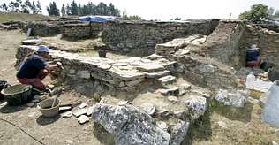 Remains of the walls of the ancient fortification at Viladonga