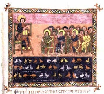 Manuscript illustration of the judges at the Millennium judging the souls of the martyrs of Córdoba