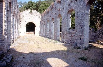 The currently-standing parts of the sixth-century basilica at Butrint