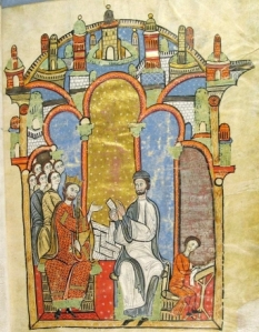 King Alfons I and Ramón de Caldes review royal documents in the Arxiu de la Corona de Aragó, as depicted in the Liber Feudorum Maior