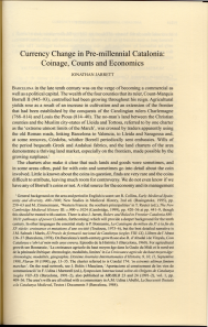 "First page of Jarrett, ""Currency Change in pre-millennial Catalonia"""