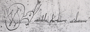 Scribal signature from Junyent, Diplomatari de la Catedral de Vic segles IX i X, no. 37, by Teudila