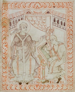A tenth-century illustration of Pope Gregory the Great wearing a pallium