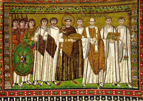 The mosaic of Emperor Justinian I and Empress Theodora in San Vitale di Ravenna