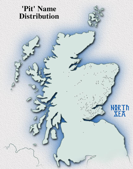 Distribution map of Scottish place-names in Pit-