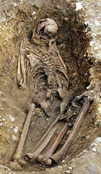 Face-down burial with legs bent found at Whitehall Roman villa, 2003