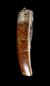 Seventh-century Anglo-Saxon beaver-tooth pendant, on display at the British Museum