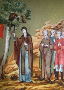 Modern illustration of St Sefan of Perm cutting down a sacred tree of the Komi people in the 1380s