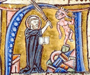 St Augustine refuting a heretic, New York, Morgan Pierpont Library, MS 92b (a C13th Book of Hours), fo. 112r