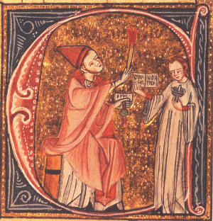 Decorated initial showing Pope Gregory VII excommunicating King Henry IV of Germany