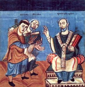 Hraban Maur presenting his Liber de Sancti Crucis to Archbishop Otgar of Mainz, encouraged by Alcuin: Vienna, Codex Vindobonensis 652