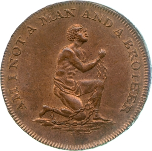 Halfpenny token of the Society for the Suppression of the Slave Trade, late eighteenth century; Fitzwilliam Museum CM.TR.1442-R, part of the Trinity College Collection