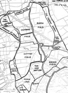Map of field names circa 1601 in Old Marston, Oxfordshire
