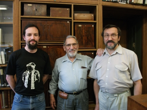 Jonathan Jarrett, Ted Buttrey and Vladimir Nastich in the McClean Room, Coins & Medals, Fitzwilliam Museum