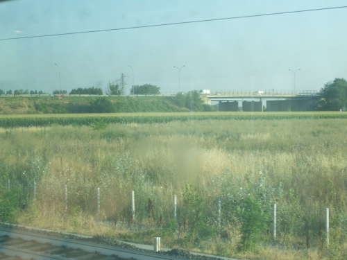 Countryside by the railway south of Paris