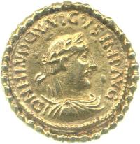 Obverse of gold solidus of Emperor Louis the Pious (814-40), Fitzwilliam Museum, Grierson Collection, CM.PG.8162