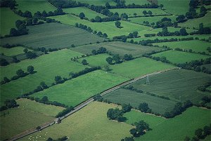 Aerial view of bocage in Normandy