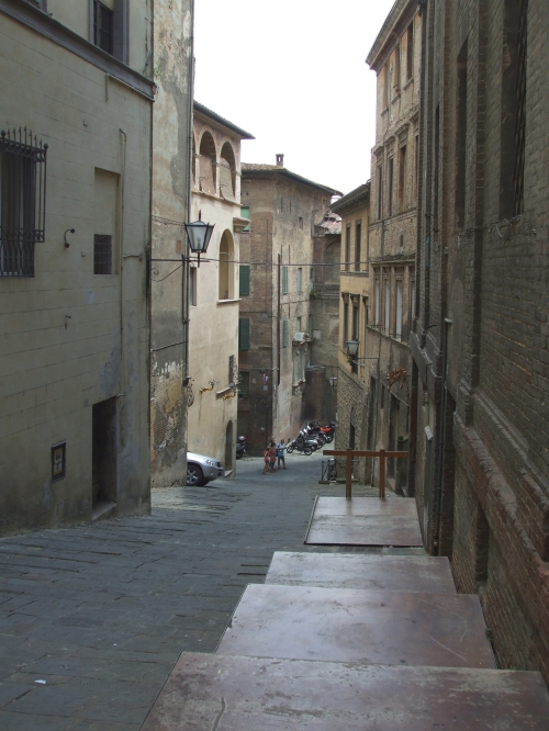 View down a street in Siena