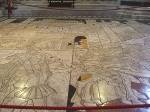 Carved marble floor panel in Siena cathedral, south transept