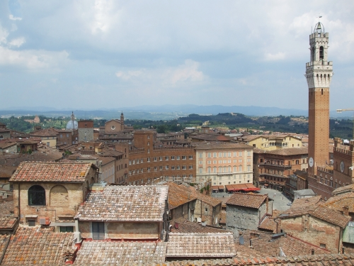 View over the city of Siena towards the Piazza del Campo, from the Duomo