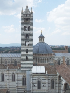 Siena cathedral viewed from the top of the west work of the old cloister