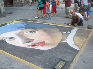 Street painting of St Catherine of Siena