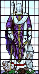 Stained-glass portrait of Bishop Wilfrid of York, at East Hoathly Parish Church